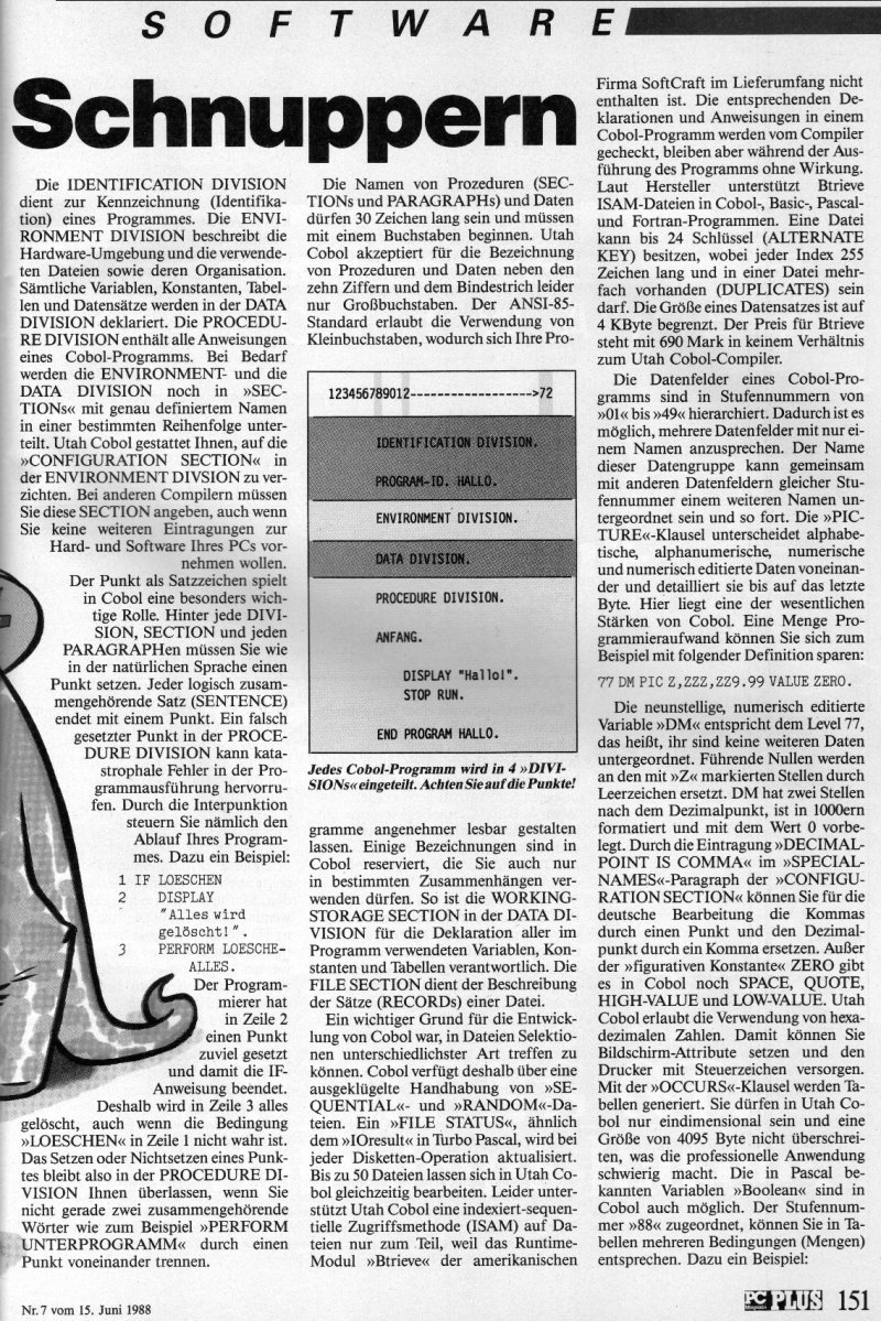 1988 - Cobol zum Schnuppern 2