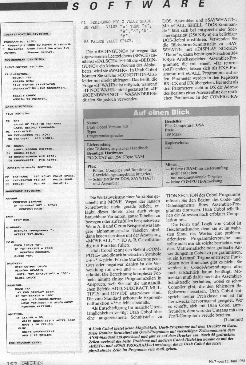 1988 - Cobol zum Schnuppern 3