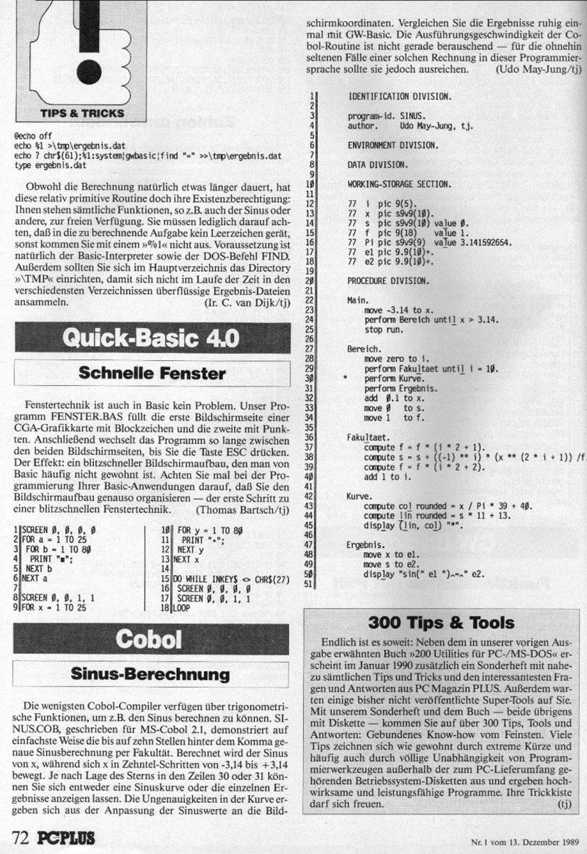 1989 - Sinus in Cobol berechnen