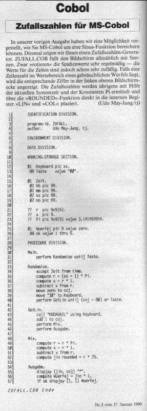1990 - Zufallszahl in Cobol ermitteln
