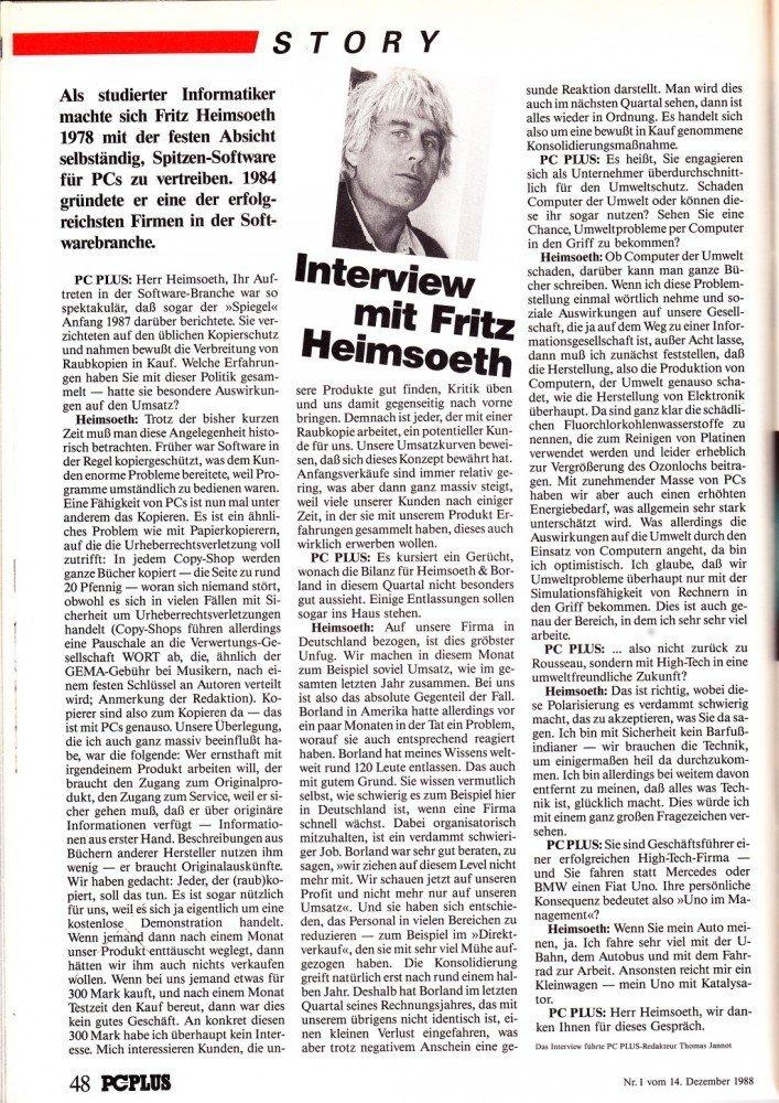 Interview mit Fritz Heimsoeth in PC Magazin PLUS 1/1989