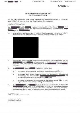Strafbewehrte Unterlassungserklärung vom 12. Mai 2015