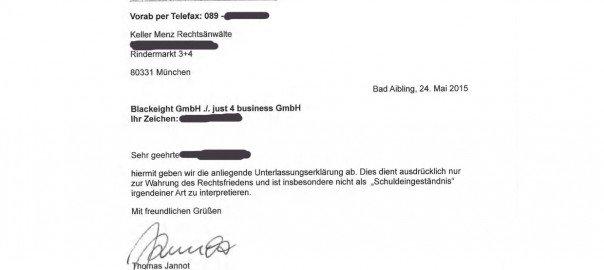 Fax an Keller Menz