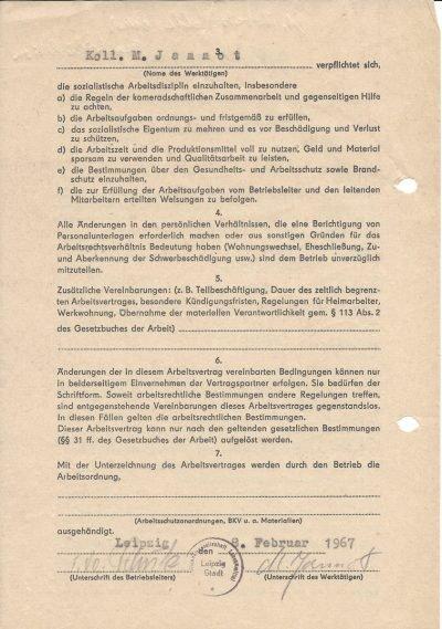 Arbeitsvertrag der Großhandelsgesellschaft (GHG) Lebensmittel Leipzig-Stadt (1967), Seite 2/2