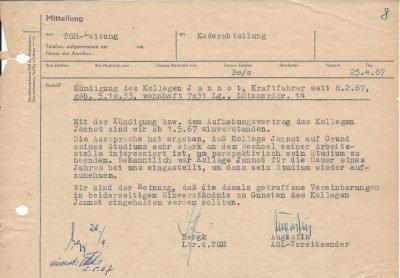 Kündigungsbestätigung zur Wiederaufnahme des Studiums (1967)