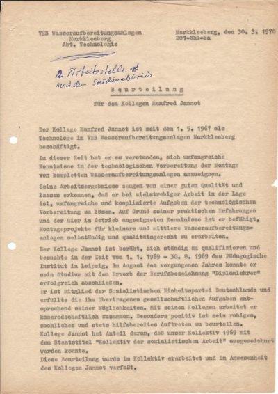 Beurteilung von Wasseraufbereitungsanlagen Markkleeberg (1970), Seite 1/2