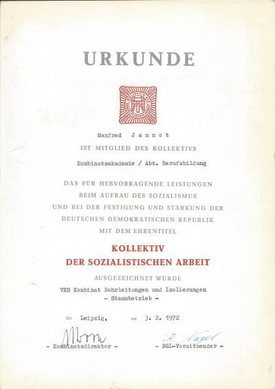 Urkunde für hervorragende Leistung beim Aufbau des Sozialismus (1972)