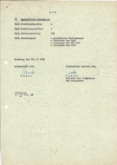 Funktionsplan vom Volkseigenen Betrieb (VEB) Kombinat Rohrleitungen und Isolierungen (1975), Seite 3/3