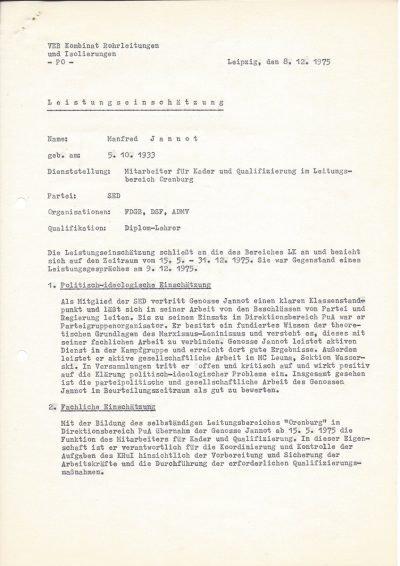 Leistungseinschätzung Volkseigenen Betrieb (VEB) Kombinat Rohrleitungen und Isolierungen (1975), Seite 1/2