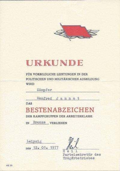 Urkunde für vorbildliche Leistungen in der politischen und militärischen Ausbildung (1977)