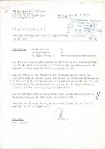 Niederschrift über Kadergespräch vom VEB Kombinat Rohrleitungen und Isolierungen (1978)
