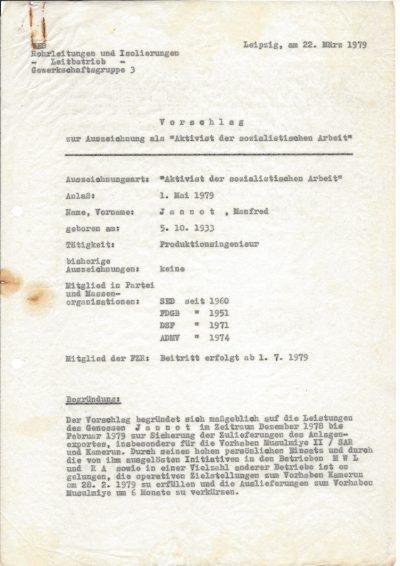 """Vorschlag zur Auszeichnung als """"Aktivist der sozialistischen Arbeit"""" (1979), Seite 1/2"""