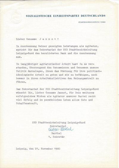 Anerkennung für gezeigte Leistungen als Agitator (1980)