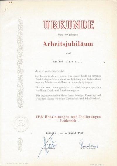 Urkunde zum 10-jährigen Arbeitsjubiläum (1980)