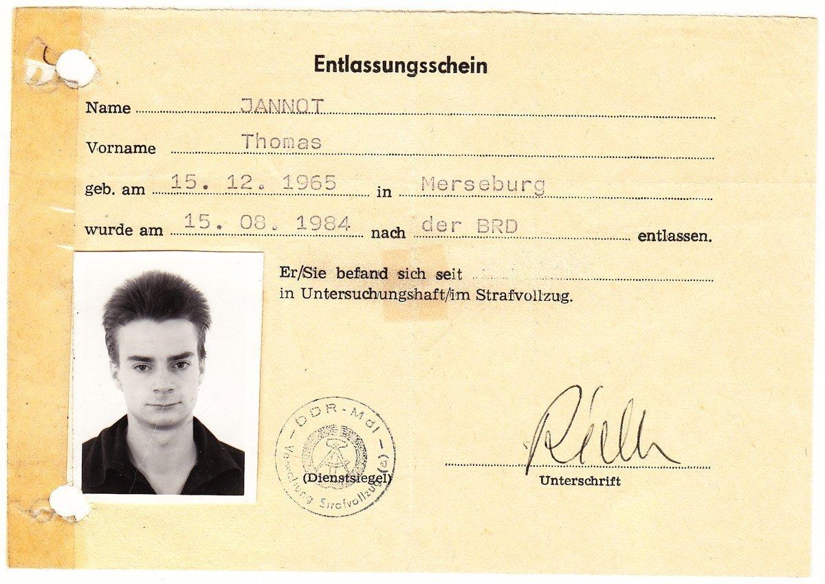 Entlassungsschein aus der DDR in die BRD (1984)
