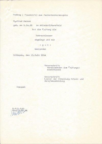 Abschrift (1986) aus Facharbeiterzeugnis zur Prüfung als Rohrschlosser (1956)