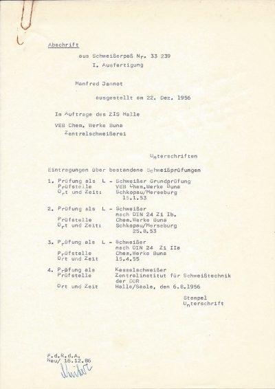 Abschrift (1986) aus Schweißerpass mit Qualifikationen zum Schweißer (2x 1953, 1x 1955) und Kesselschweißer (1956)