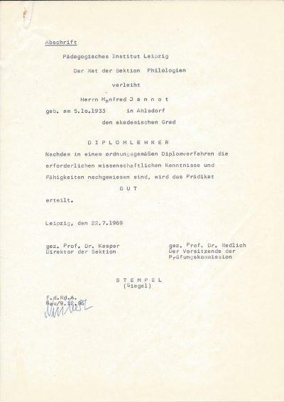 Abschrift (1986) vom Akademischen Grad als Diplomlehrer (1969)